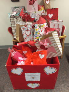 A pile of Valentine's day gifts